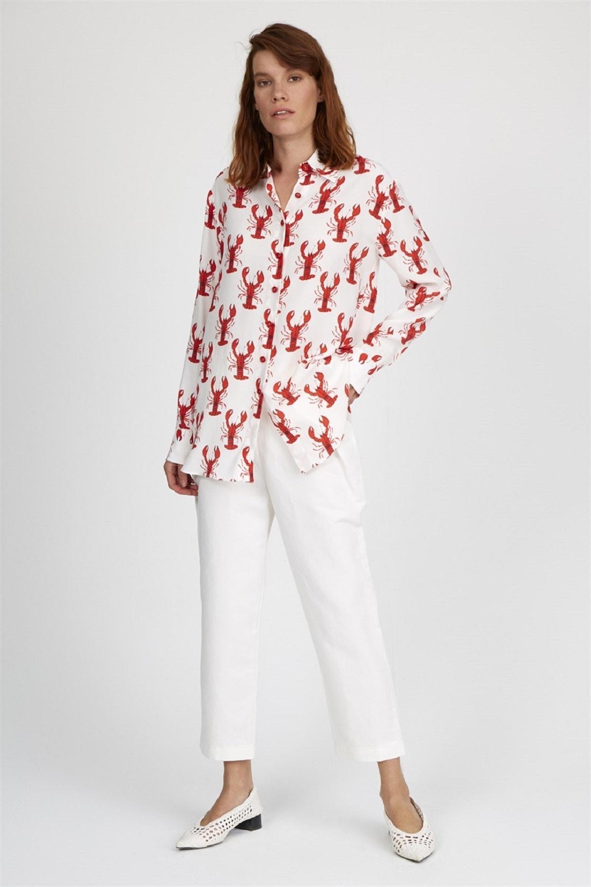 Setre Kadın Ekru-kırmızı Gizli Pat Uzun Kol Basen Kapatan Gömlek 1