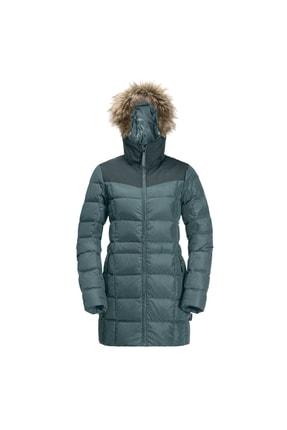 Jack Wolfskin Kadın Mavi Baffin Island Coat Rüzgar Geçirmez Outdoor Mont