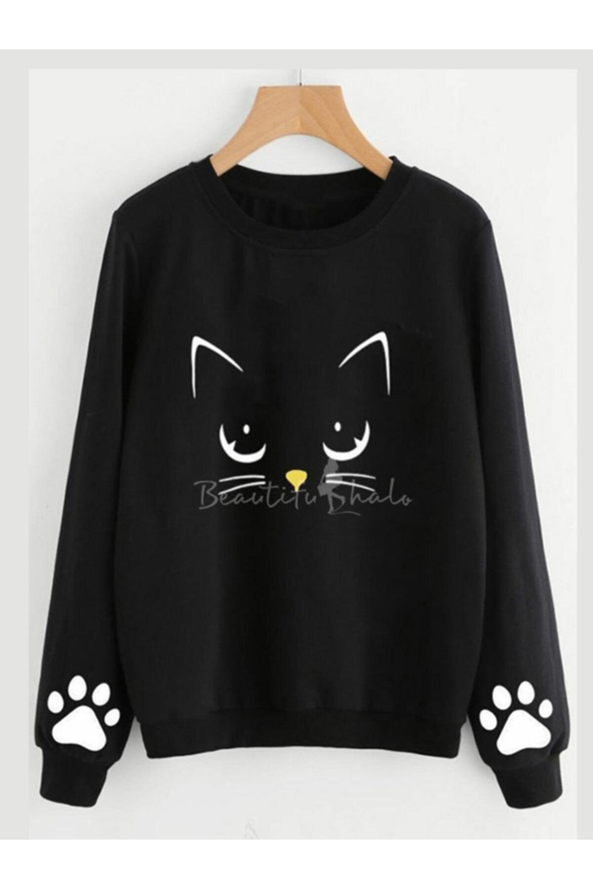 ELBİSENN Kadın Siyah Cat Iki Iplik Sweatshırt 1