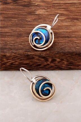 Sümer Telkari Kadın Okyanus Sedef Taşlı Tasarım Gümüş Küpe 4400