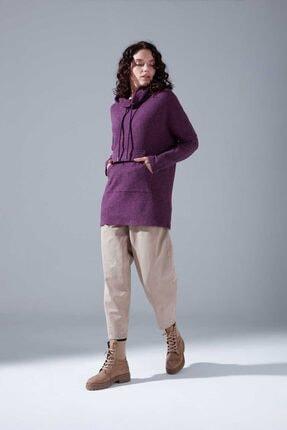 Mizalle Kadın Mor Kanguru Cepli Tüylü Sweatshirt