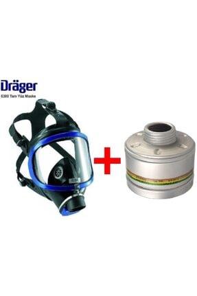 Drager X-plore 6300 Tek Filtreli Tam Yüz Gaz Maskesi + Rd40 A2b2e2k1 Filtresi