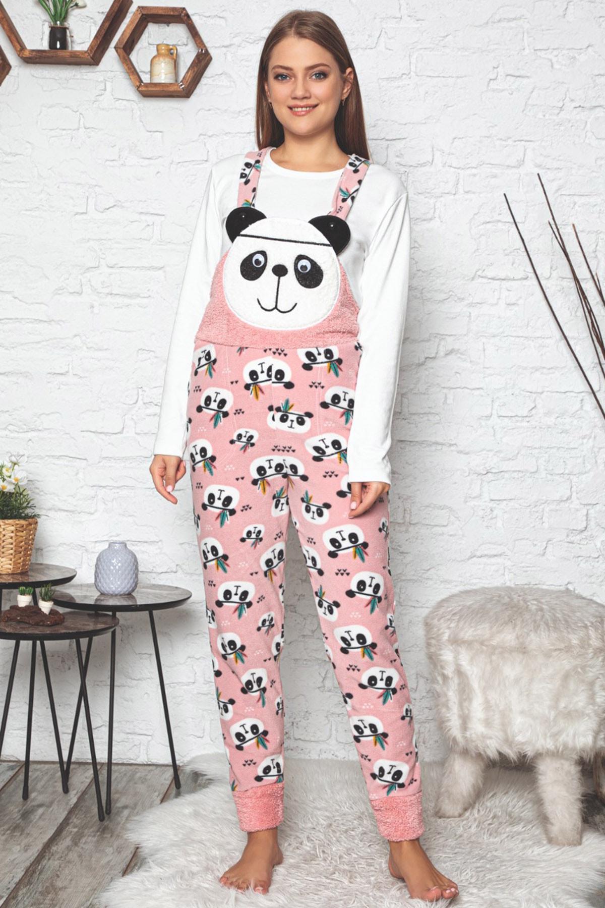 Pijamaevi Kadın Pembe Panda Desenli Kadın Bahçıvan Polar Peluş Tulum Pijama Takımı 2