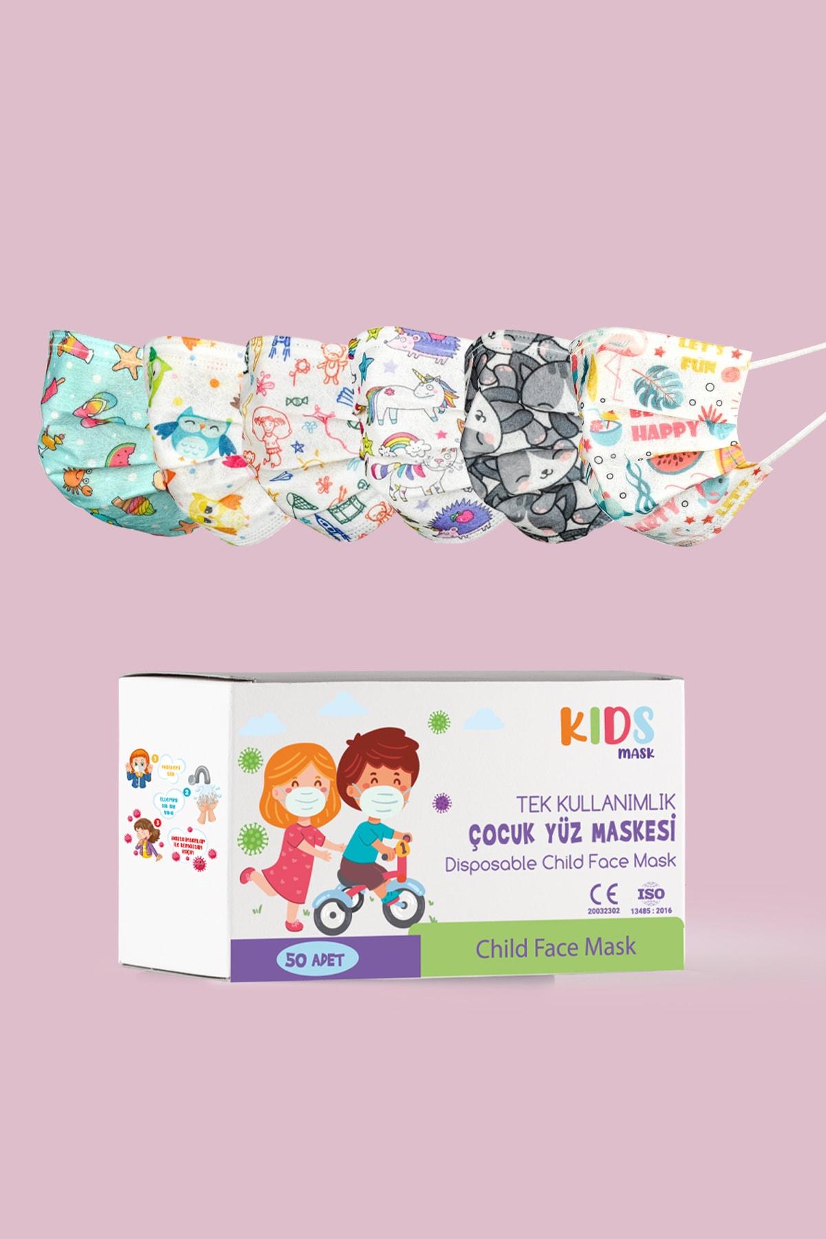 ZNG Kids Mask Kız Çocuk Medikal Maske 50 Adet 1