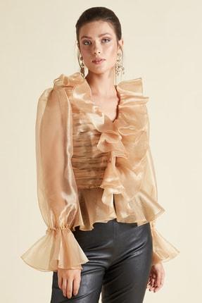 SERPİL Kadın Gold Fırfırlı Organze Gömlek