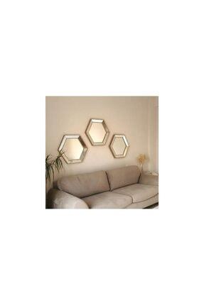 Vivense Neostill- 3lü Dekoratif Ayna Altıgen Duvar Salon Boy 3a405