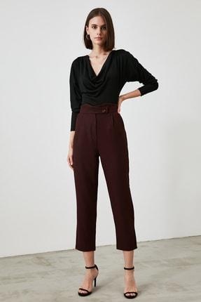 TRENDYOLMİLLA Bordo Yüksek Bel Detaylı Pantolon TWOAW21PL0431