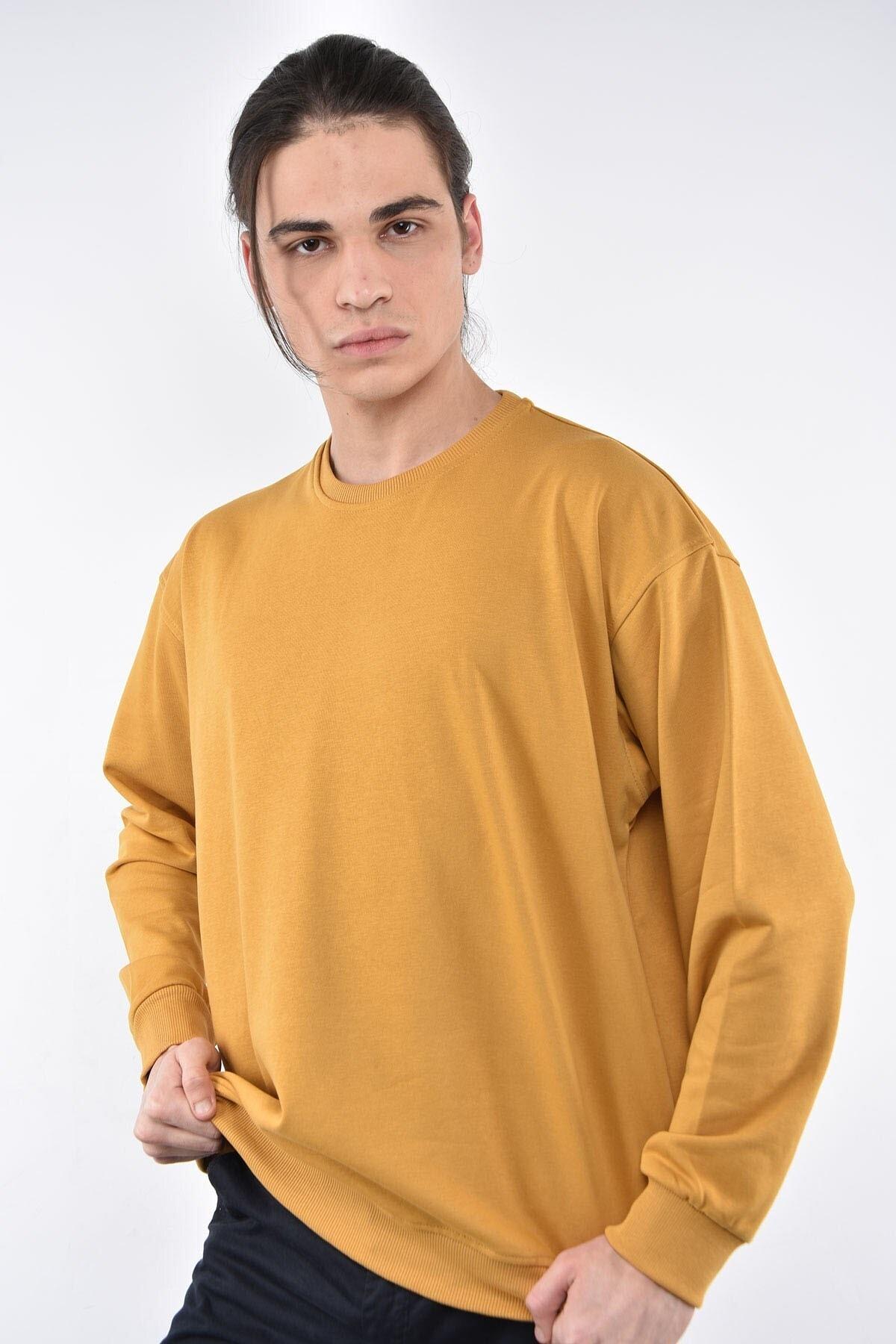 Liwali Erkek  Sarı Bisiklet Yaka Oversize Sweatshirt 1