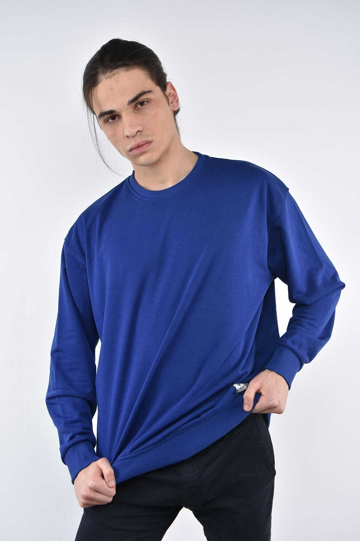 Liwali Erkek Lacivert Bisiklet Yaka Oversize Sweatshirt 1