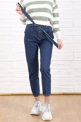 Arlin Kadın Koyu Mavi Kuşaklı Mom Model Boru Paça Yüksek Bel Jean Pantolon