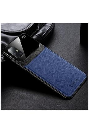 Dara Aksesuar Samsung Galaxy A71 Zebana Lens Deri Mavi Kılıf