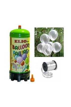 Parti dolabı Helyum Gazı Tüp + 20 Adet Şeffaf Balon Metalik Uçan Balon + Ipi