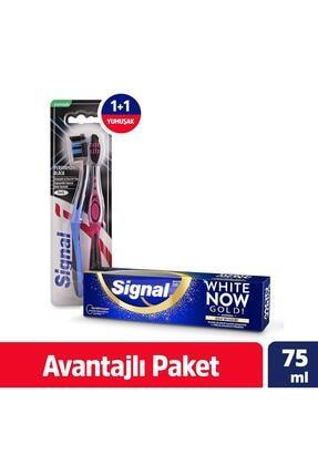 Signal Performans Black 1+1 Diş Fırçası + Diş Macunu White Now Gold 75 Ml