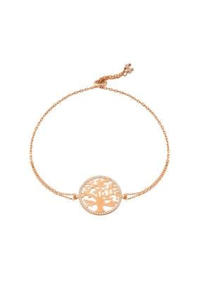So CHIC... Kadın  Hayat Ağacı Taşlı Rose Gold Gümüş Bileklik
