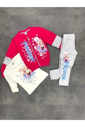 Frozen Kız Çocuk Pembe 3'lü Ceketli Takım
