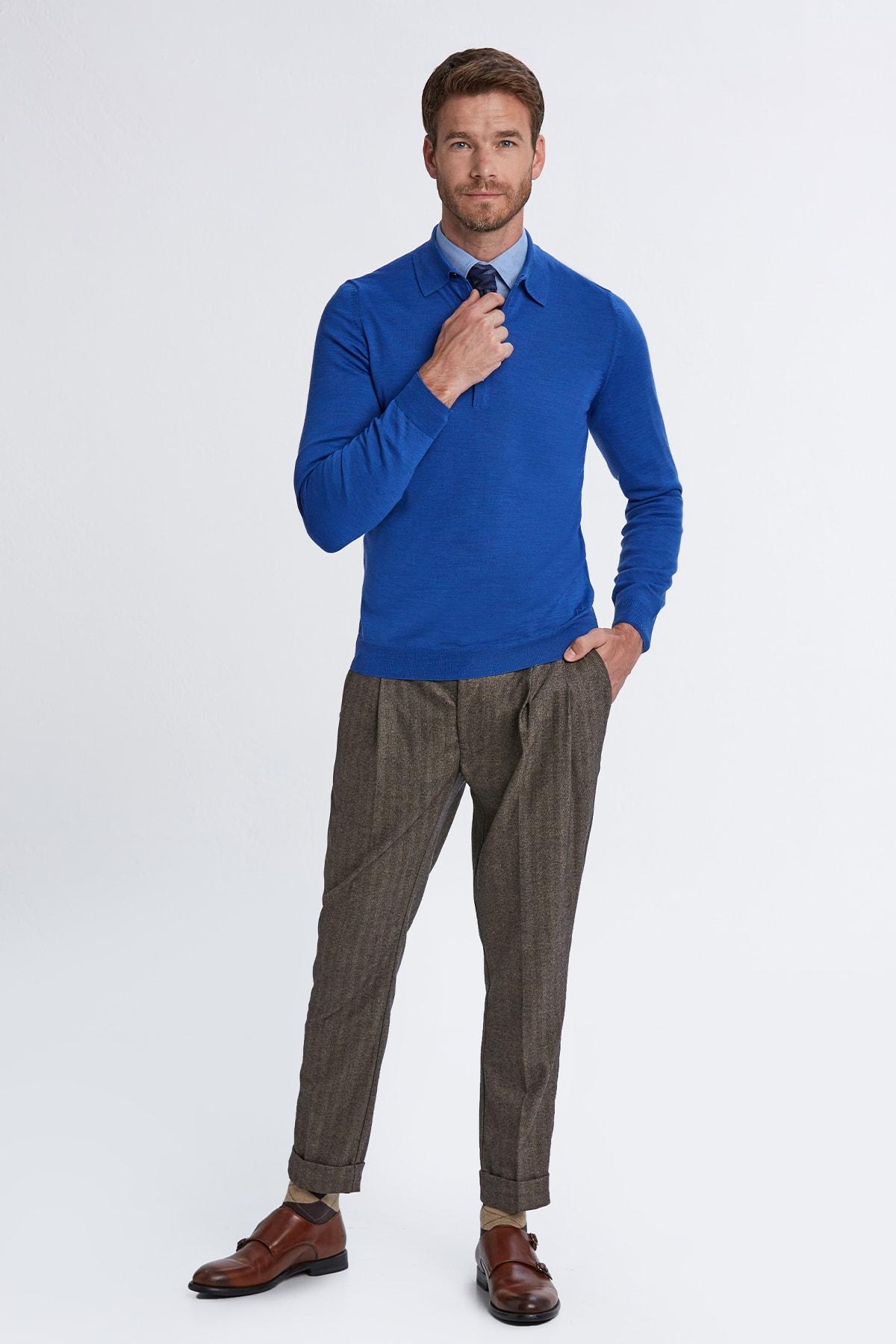 Hemington Erkek Mavi Polo Yaka Merino Yün Triko 2