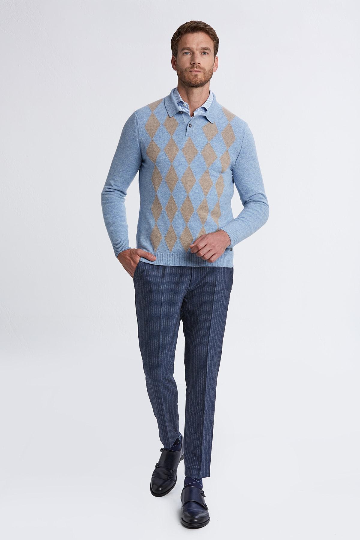 Hemington Erkek Açık Mavi Baklava Desen Polo Yaka Saf Kaşmir  Kazak 2
