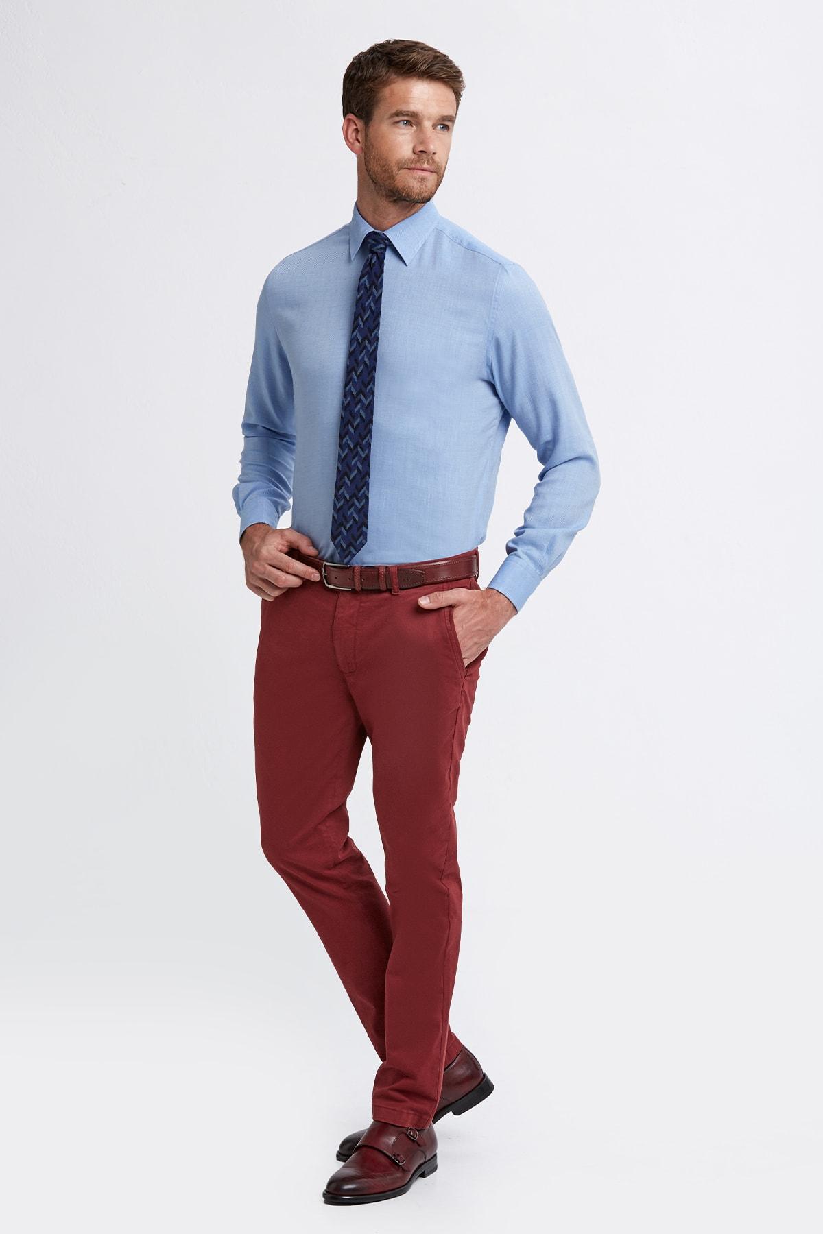 Hemington Erkek Bordo Pamuk  Chino Pantolon 2