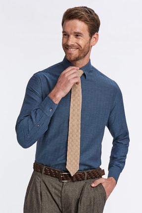 Hemington Erkek Kaşmirli Gizli Düğme Lacivert Business Gömlek