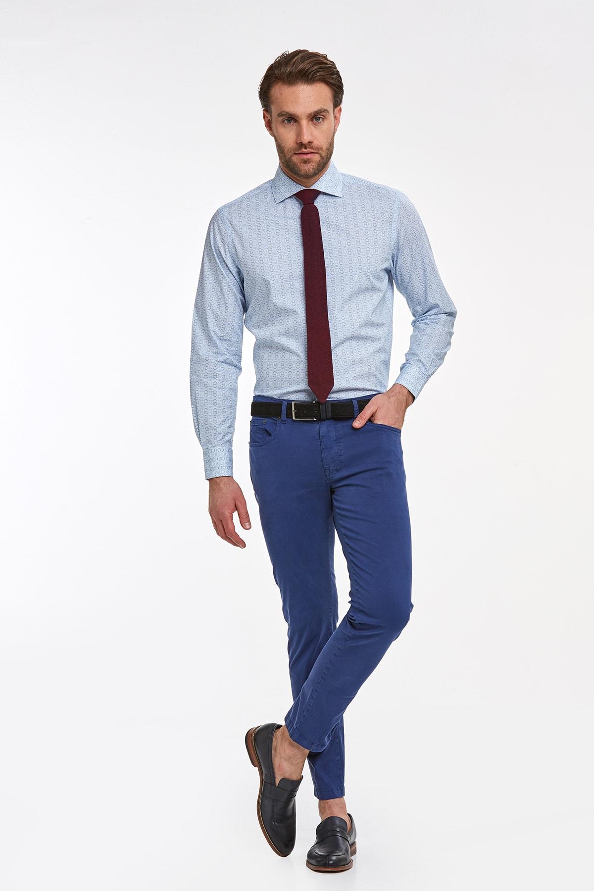 Hemington Erkek Mavi Desenli Italyan Yaka Spor Gömlek 2