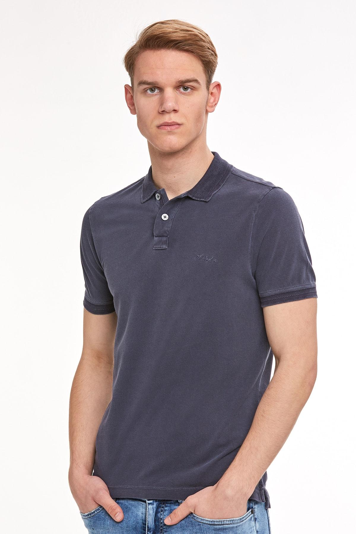 Hemington Erkek Lacivert Vintage Görünümlü Polo Yaka T-shirt 1