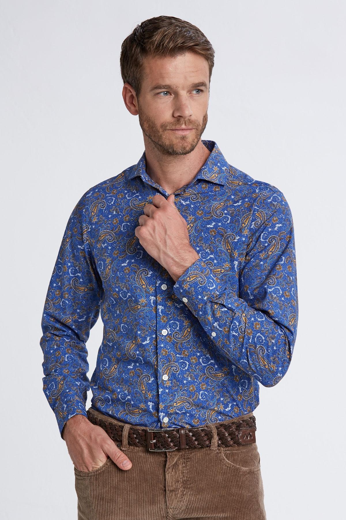 Hemington Erkek Koyu Mavi Desenli Italyan Yaka Pamuk Gömlek 1