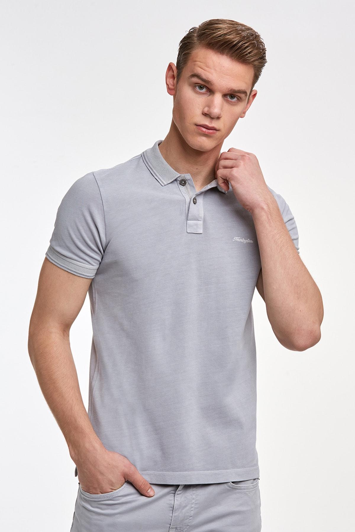 Hemington Erkek Vintage Görünümlü Gri Polo Yaka T-shirt 1