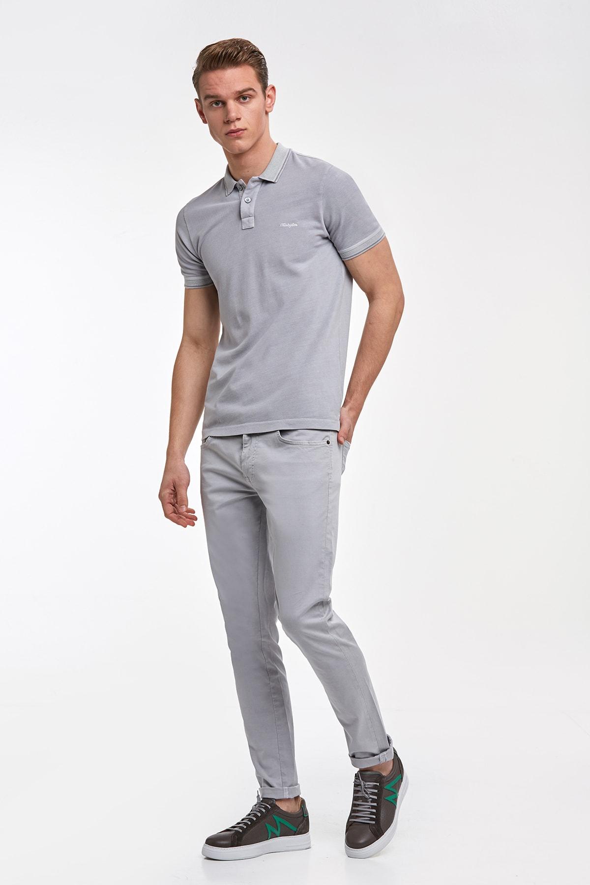 Hemington Erkek Vintage Görünümlü Gri Polo Yaka T-shirt 2