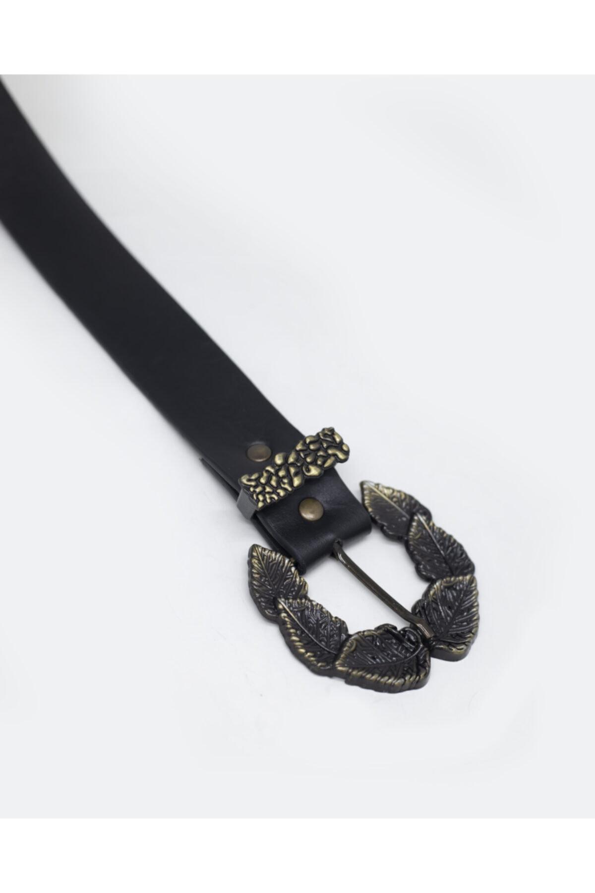 Povi Moda Kadın Siyah Yaprak Model Tokalı Kemer 2