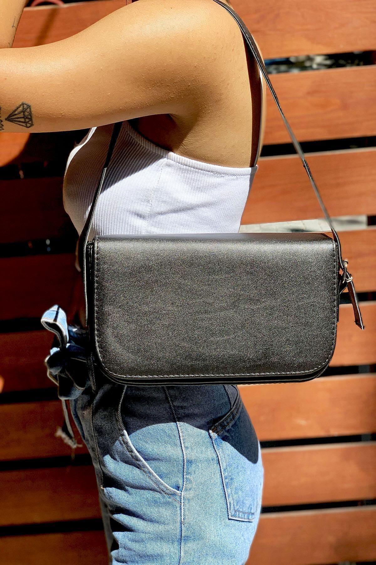 MEFA MARKET Kadın Siyah Baget Omuz Çanta 1