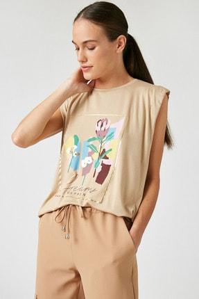 Koton Kadın Deve Tüyü  T-Shirt 1KAK13314EK