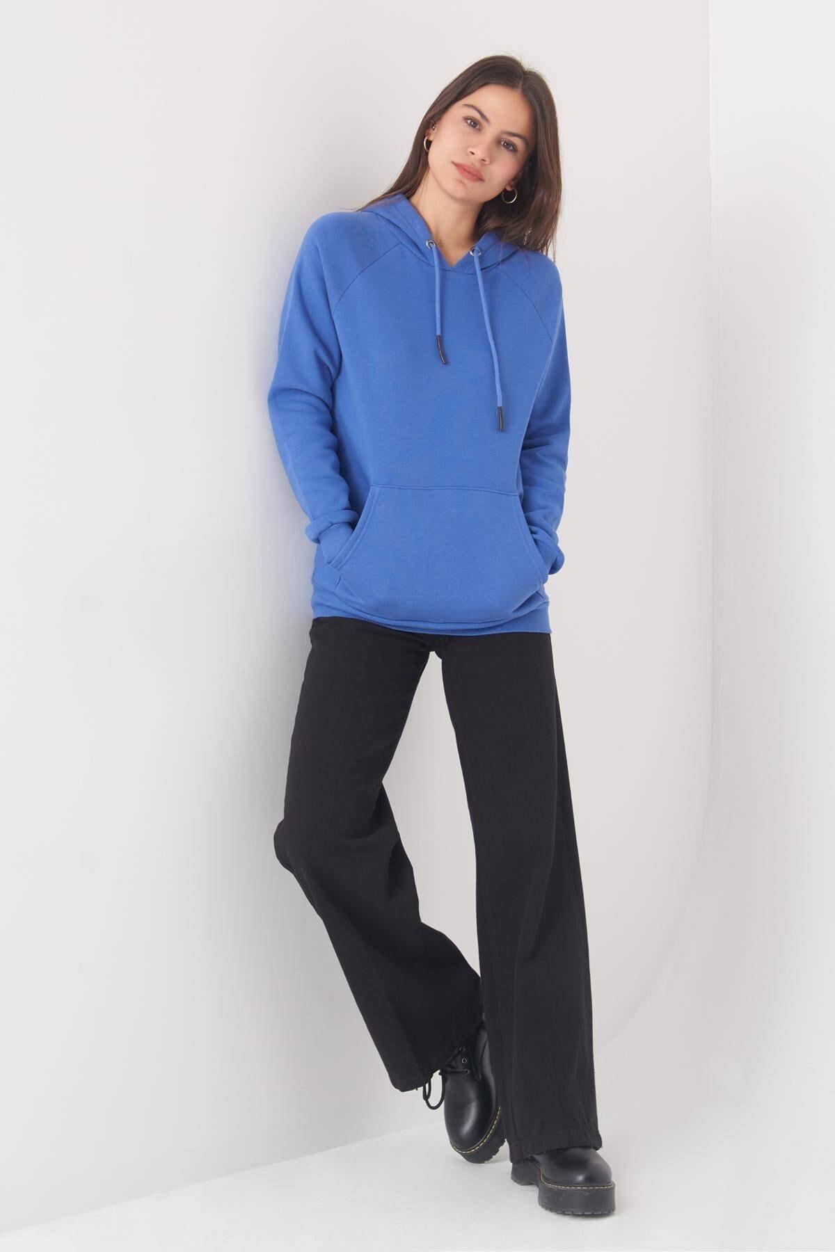 Addax Kadın mavi Cep Detaylı Sweat S7066-1 - B11 - B12 ADX-0000019965 2