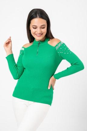 Sateen Kadın Yeşil Omuzları Açık Yaka Fermuarlı Triko  9KTR220K108