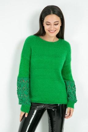 Sateen Kadın Yeşil Kolu Dantel Detay Yeşil Triko 9KTR220K135