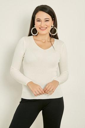 Sateen Kadın Ekru V Yaka Basic Triko Kazak  20KTR220K132