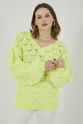 Sateen Kadın Neon Yeşil Balon Kol Salaş Triko Kazak  20KTR220K156