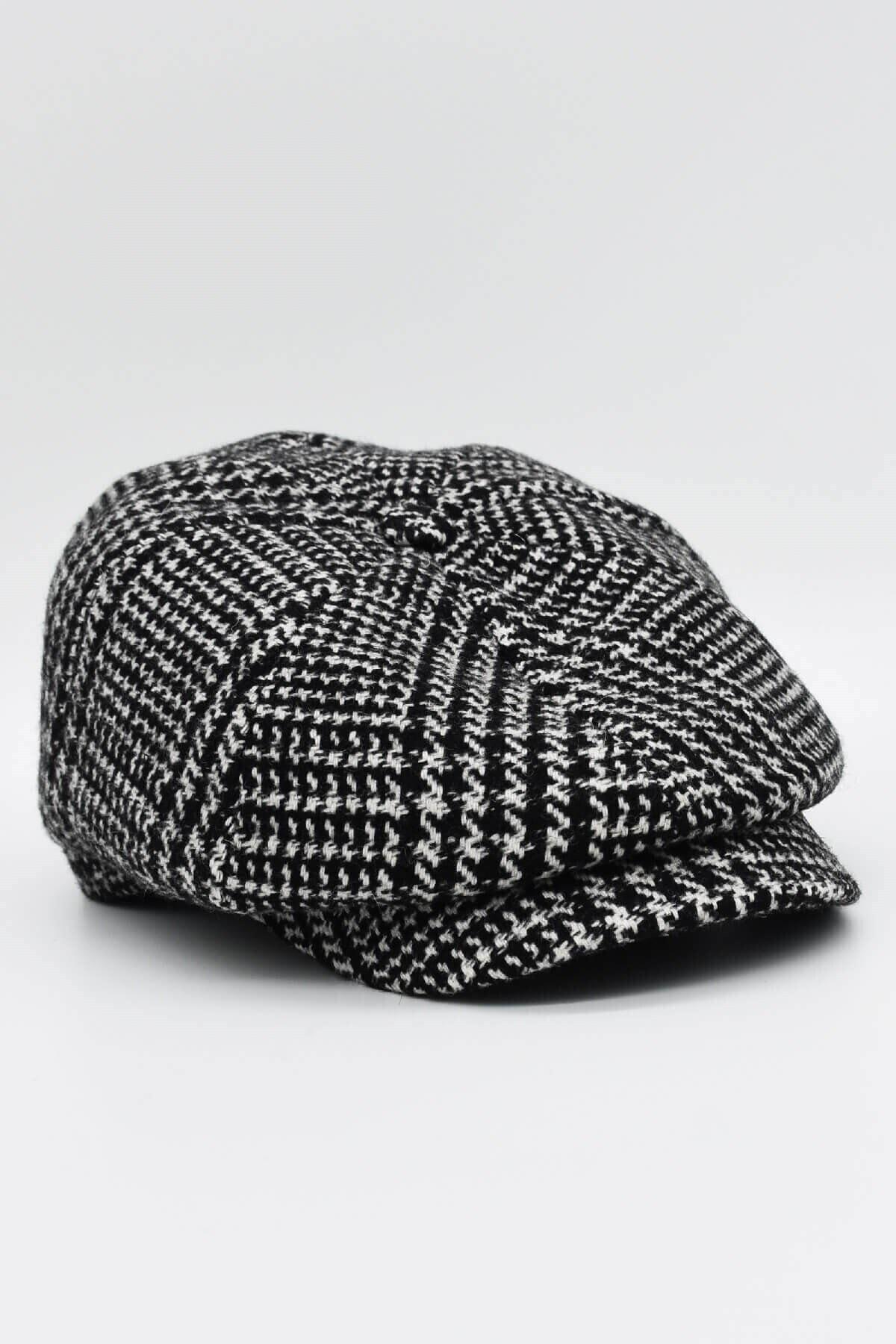 mercantoptan Erkek Siyah Ekoseli Yünlü Kasket Şapka 2
