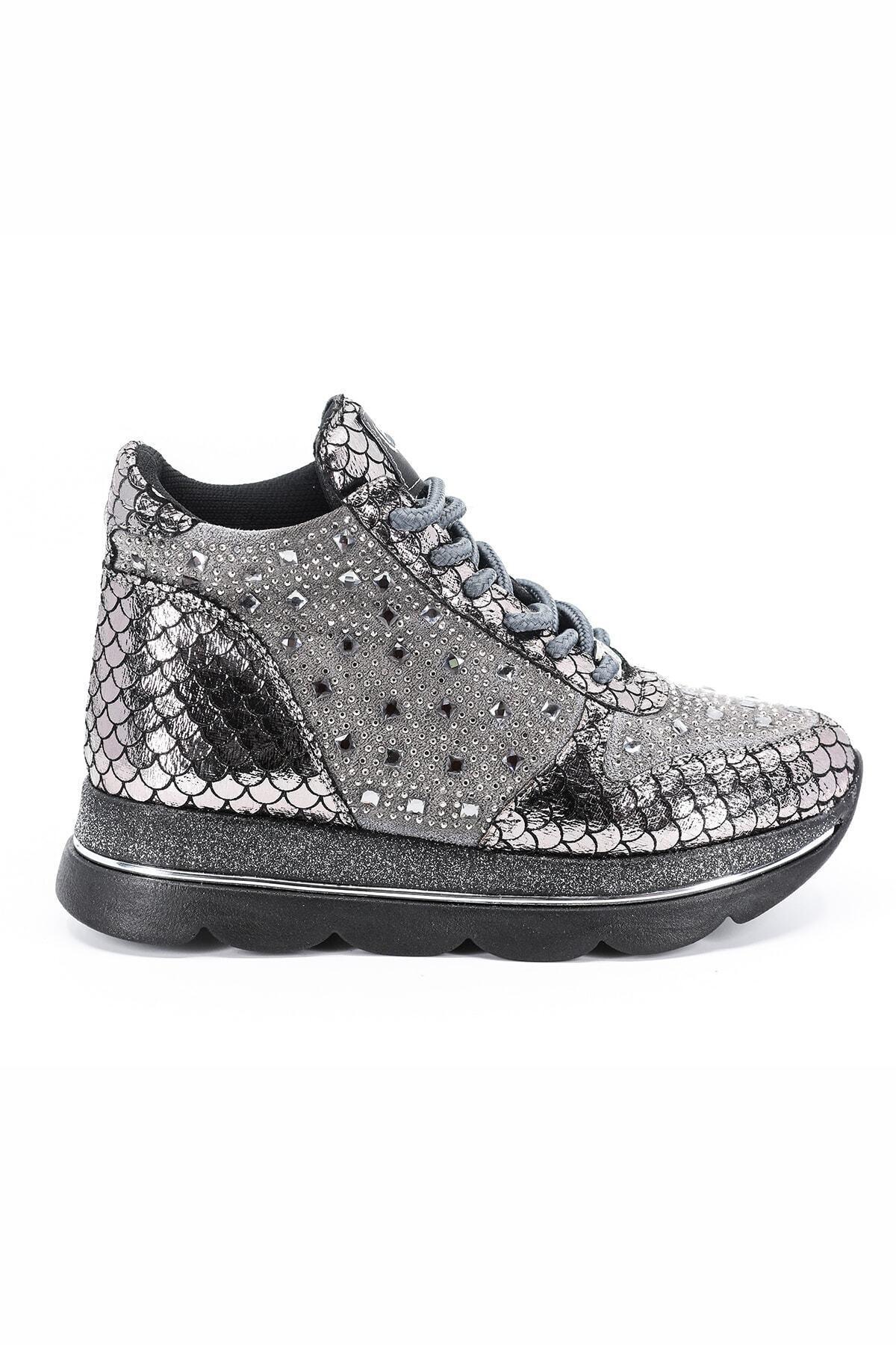 Pierre Cardin Kadın Gümüş Kalın Taban Sneaker 2