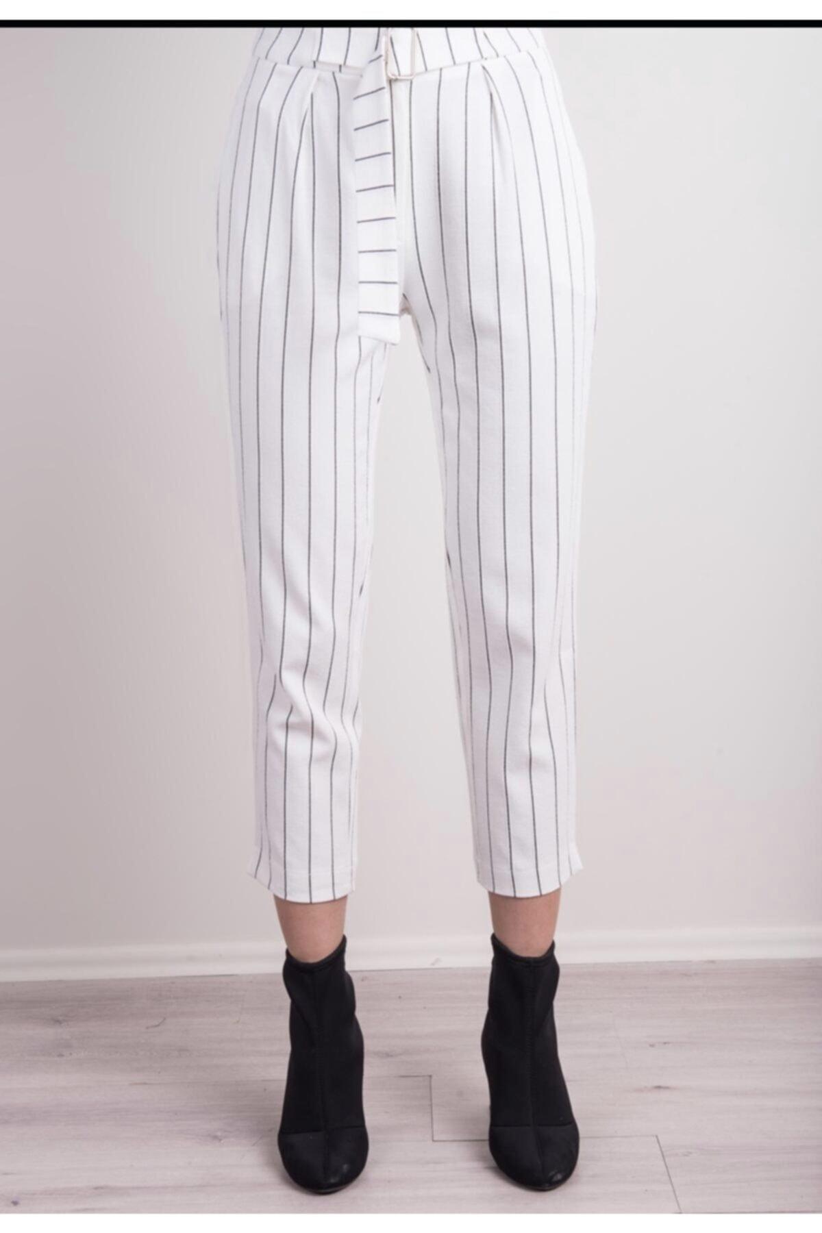 BSL Kadın Beyaz Çizgili Kemer Detaylı Çizgili Havuç Paça Pantolon 2