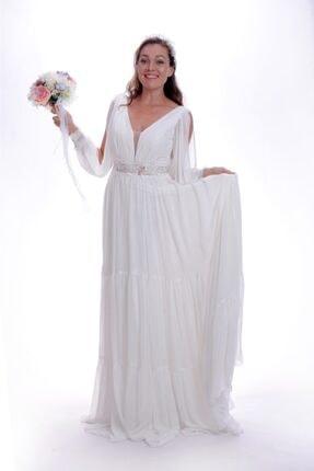 Nikahelbisem Kadın Beyaz V Yaka Nikah Elbisesi