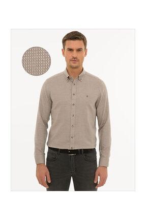 Pierre Cardin Erkek Açık Kahverengi Slim Fit Gömlek