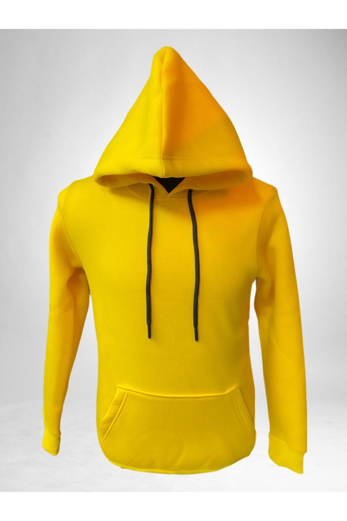 boypos Unisex Sarı Kapüşonlu Içi Yünlü Sweatshirt 1