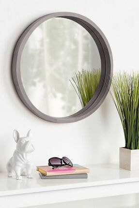 bluecape Doğal Ağaç Masif 45cm Gri Çerçeveli Antre Koridor Duvar Salon Banyo Ofis Çocuk Yatak Odası Ayna