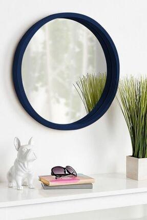 bluecape Doğal Ağaç Masif  Mavi Çerçeveli Antre Koridor Duvar Salon Banyo Ofis Çocuk Yatak Odası Ayna 45cm