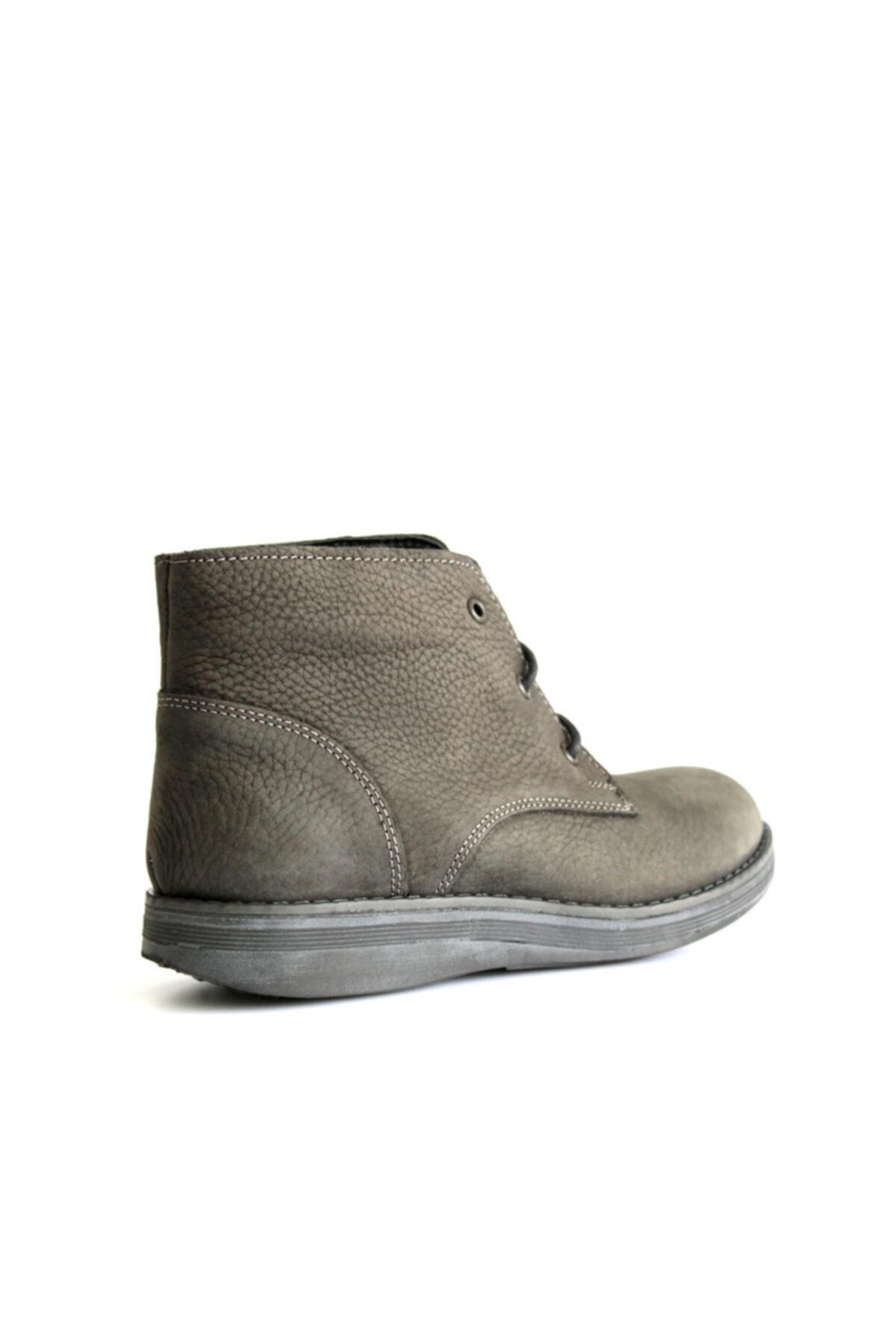 Beta Shoes Hakiki Deri Kadın Bot Gri 2
