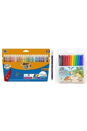 Bic Kids Kid Couleur Keçeli Boya Kalemi 24 Renk Ve Nova Color 12 Renk Keçeli Kalem