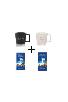 Starbucks Filtre Kahve Fincanı Seti + Lindt Klasik Ve Üzümlü Fındıklı Tablet Çikolata 2*100 G