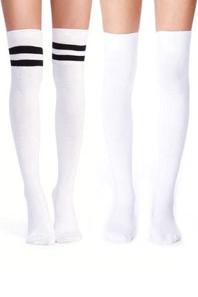 Hane14 Kadın Beyaz Diz Üstü Koton Çorap 2'li