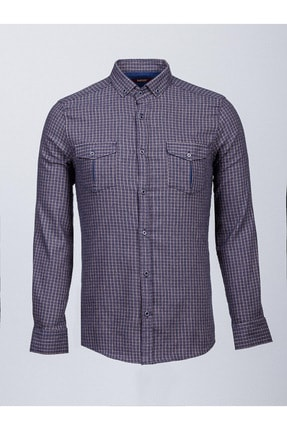 Mcr Erkek Lacivert Kamel Kareli Cep Detaylı Gömlek