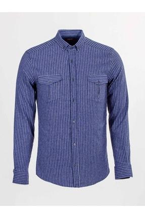 Mcr Erkek  Indigo Kareli Cep Detaylı Gömlek